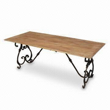 Wrought Iron Dining Table With Brass Fitting And Mango Wood In Iron Dining Tables With Mango Wood (View 11 of 25)