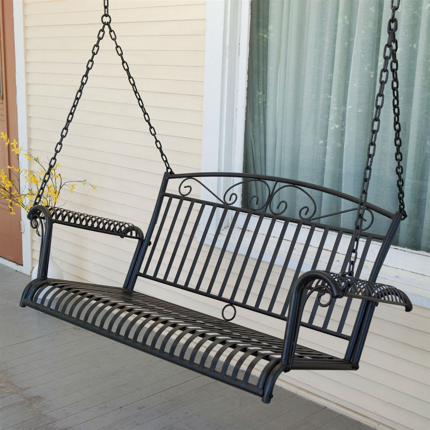 Wrought Iron Outdoor Patio 4 Ft Porch Swing In Black | Porch Intended For 2 Person Hammered Bronze Iron Outdoor Swings (Image 25 of 25)