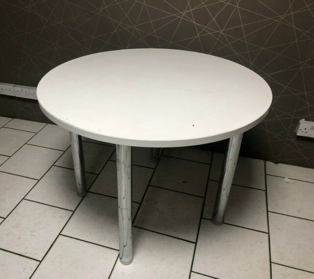 Xd White Round 4 Seater Dining Room Bistro Table Canteen 100Cm Desk Chrome  Legs Pertaining To 4 Seater Round Wooden Dining Tables With Chrome Legs (View 10 of 25)