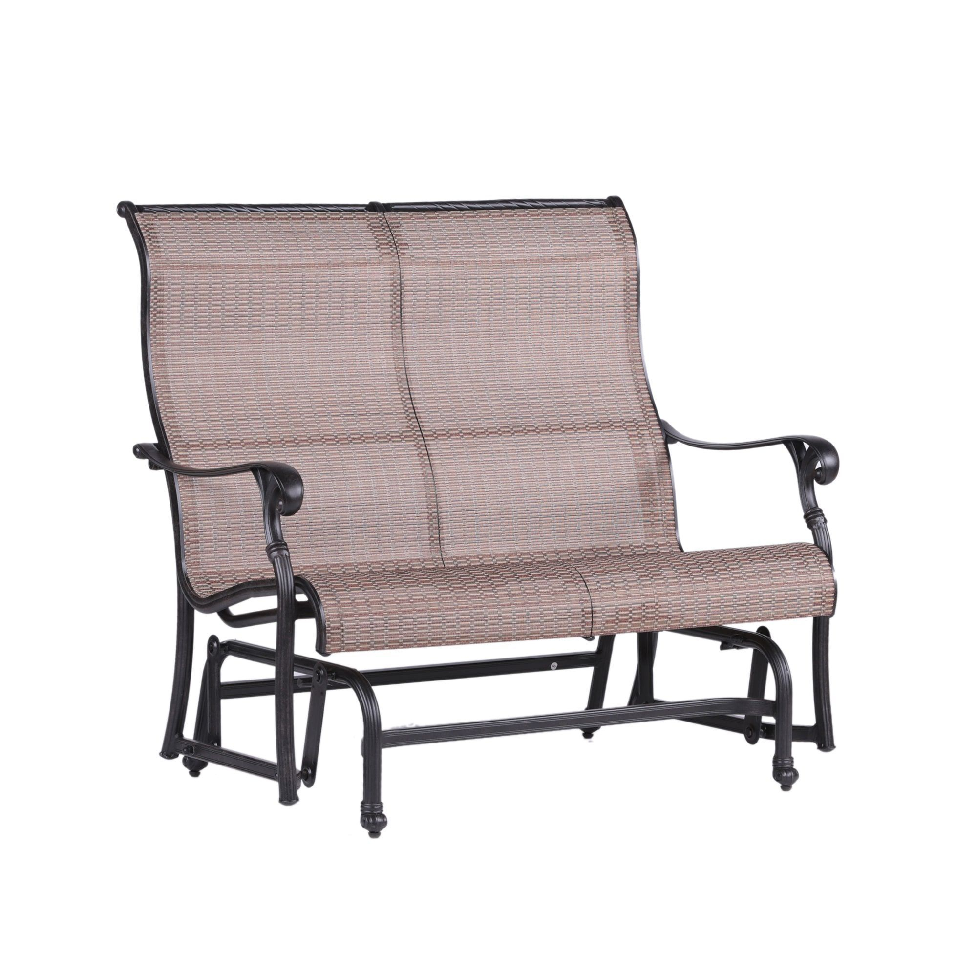Yorkshire Cast Aluminum (Silver) Sling Fabric Double Glider Pertaining To Aluminum Glider Benches With Cushion (View 12 of 25)