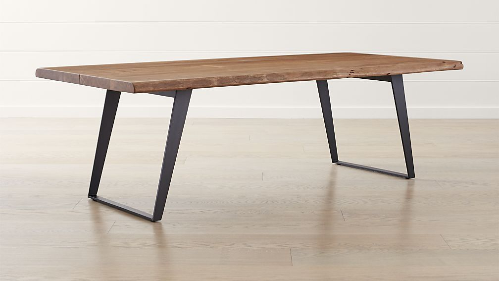 Yukon Natural Dining Table | Crate And Barrel | Dining Table With Acacia Wood Top Dining Tables With Iron Legs On Raw Metal (Image 25 of 25)