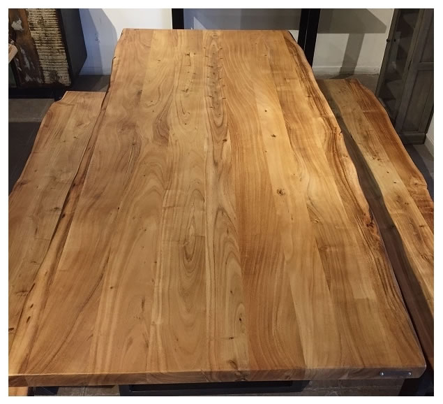 Zen Live Edge 72 Inch Dining Table (Acacia – Stainless X Legs) With Acacia Dining Tables With Black Rocket Legs (Image 25 of 25)