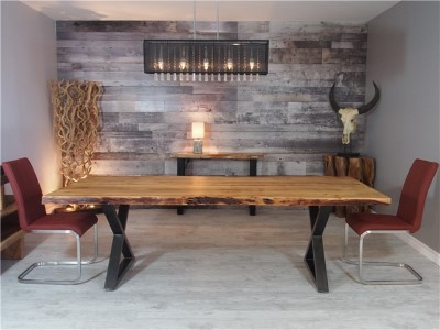 Zen Live Edge 96 Inch Dining Table (Acacia – Black U Legs) Inside Dining Tables With Black U Legs (Photo 20 of 25)