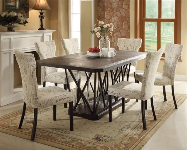 Zeph Antique Antique Black Wood Metal Fabric Dining Room Set Intended For Antique Black Wood Kitchen Dining Tables (Photo 3 of 25)