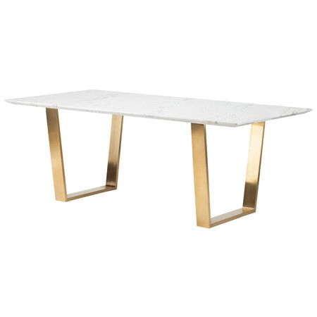 Zion Marble Dining Table | Dining Table, Marble Console For Dining Tables With Brushed Gold Stainless Finish (Image 25 of 25)