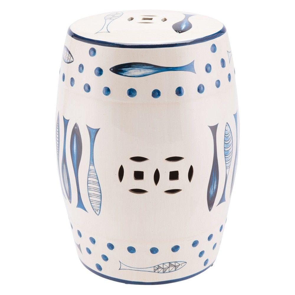 13 Modern Round Ceramic Stool – Blue & White – Zm Home In Jadiel Ceramic Garden Stools (View 22 of 25)