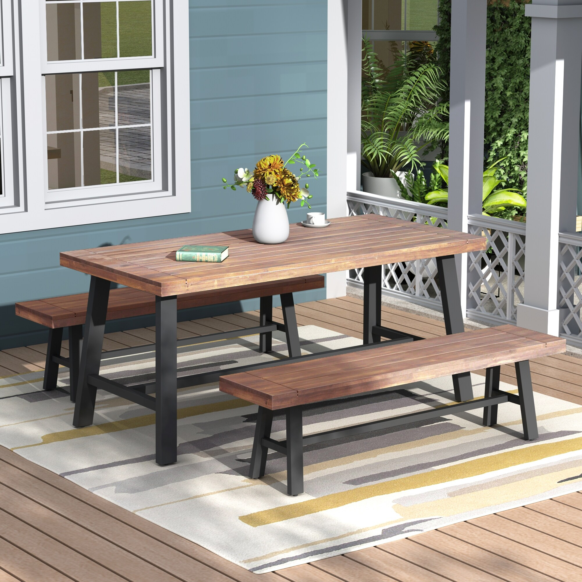 3Pcs Walnut Finish Solid Wood Rectangle Outdoor Table Bench Set In Walnut Solid Wood Garden Benches (View 10 of 25)
