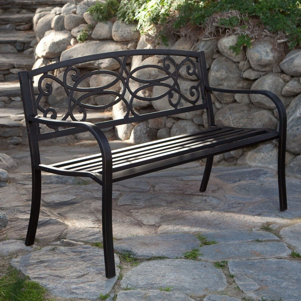 4 Ft Metal Garden Bench In Antique Black Finish | Metal For Maliyah Wooden Garden Benches (View 24 of 25)