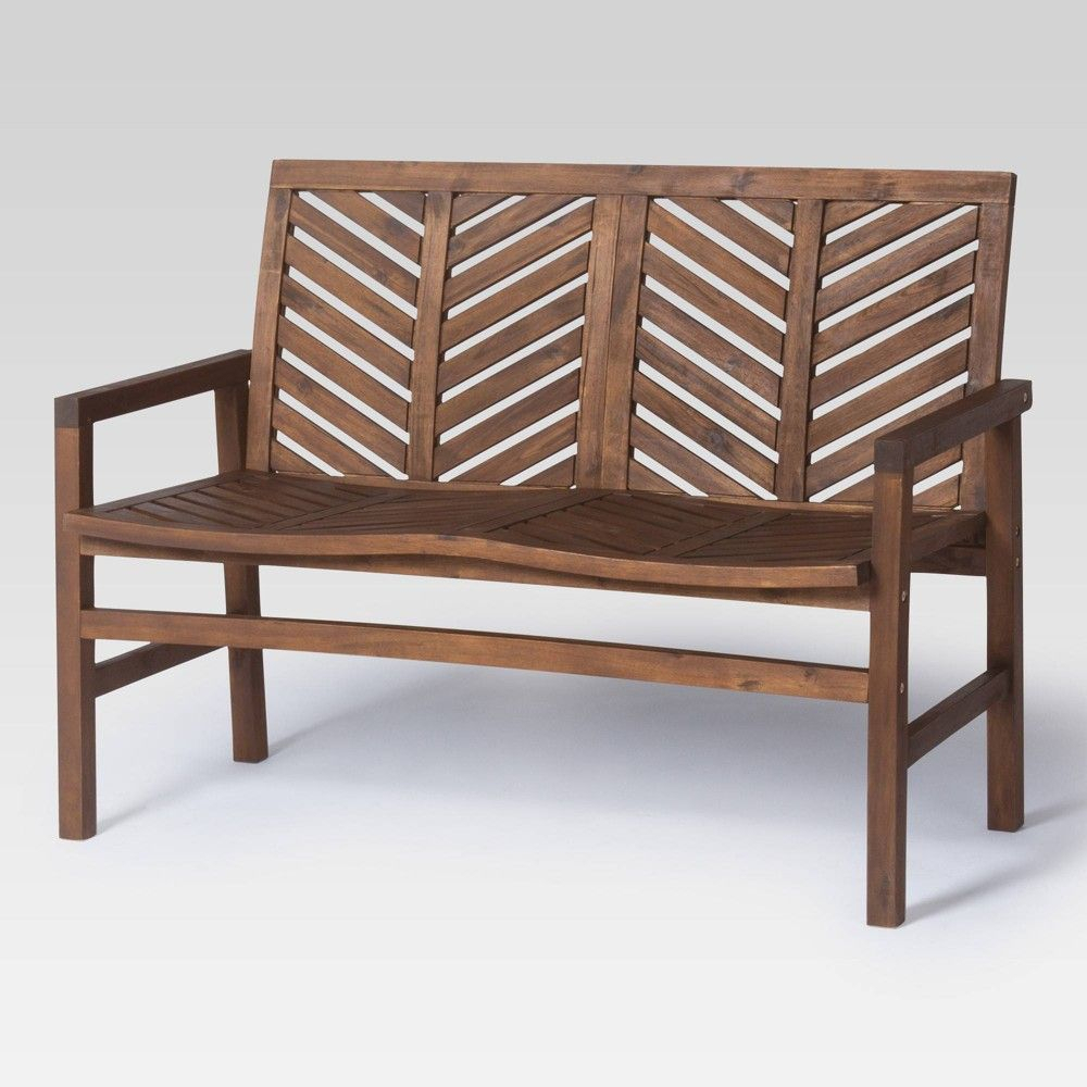 "48"" Wood Patio Love Seat – Dark Brown – Saracina Home In Pertaining To Hampstead Teak Garden Benches (View 12 of 25)"