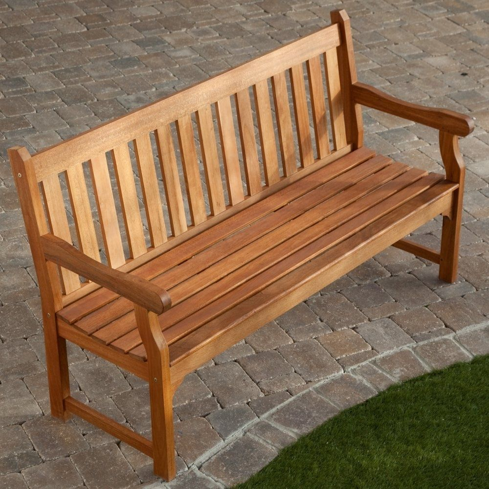 5 Ft Outdoor Wooden Garden Bench With Armrests In 2020 Pertaining To Harpersfield Wooden Garden Benches (View 4 of 25)