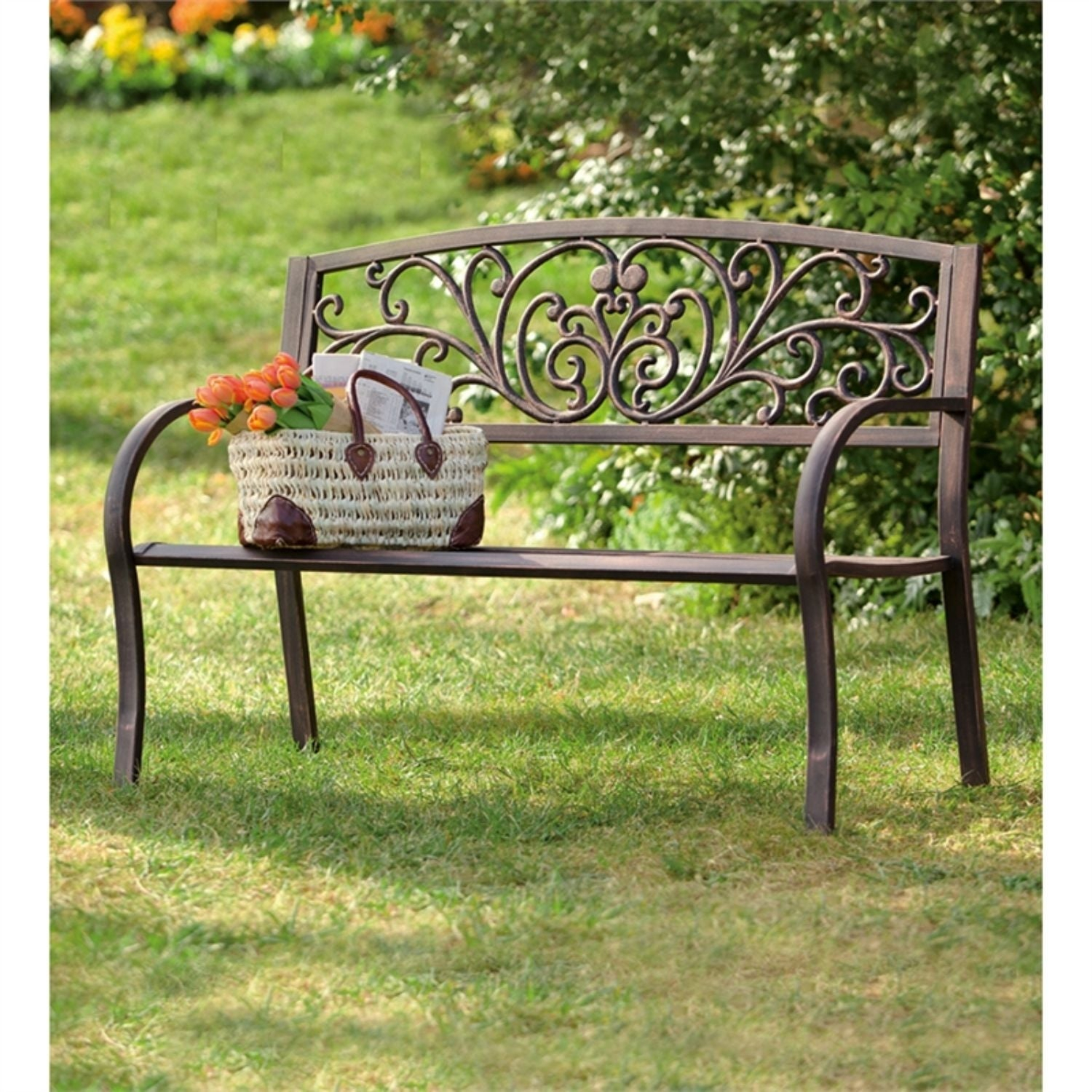 50 Inch Blooming Garden Metal Bench Intended For Blooming Iron Garden Benches (View 2 of 25)