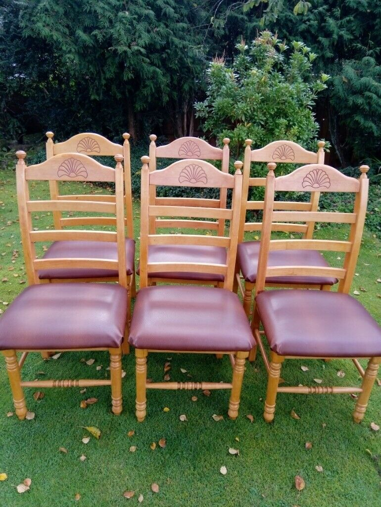 6 Solid Wood Dining Chairs With Padded Seats | In Aspull, Manchester |  Gumtree Intended For Manchester Solid Wood Garden Benches (View 24 of 25)