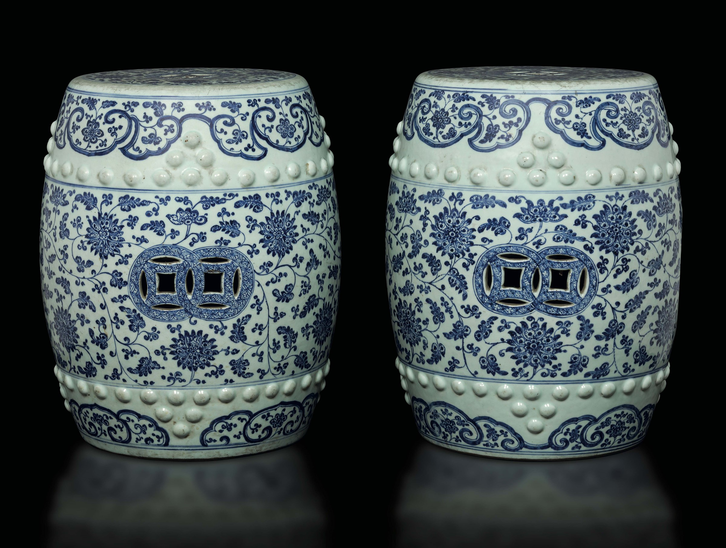 A Pair Of Blue And White Garden Seats, China, Qing Dynasty Throughout Renee Porcelain Garden Stools (View 18 of 25)