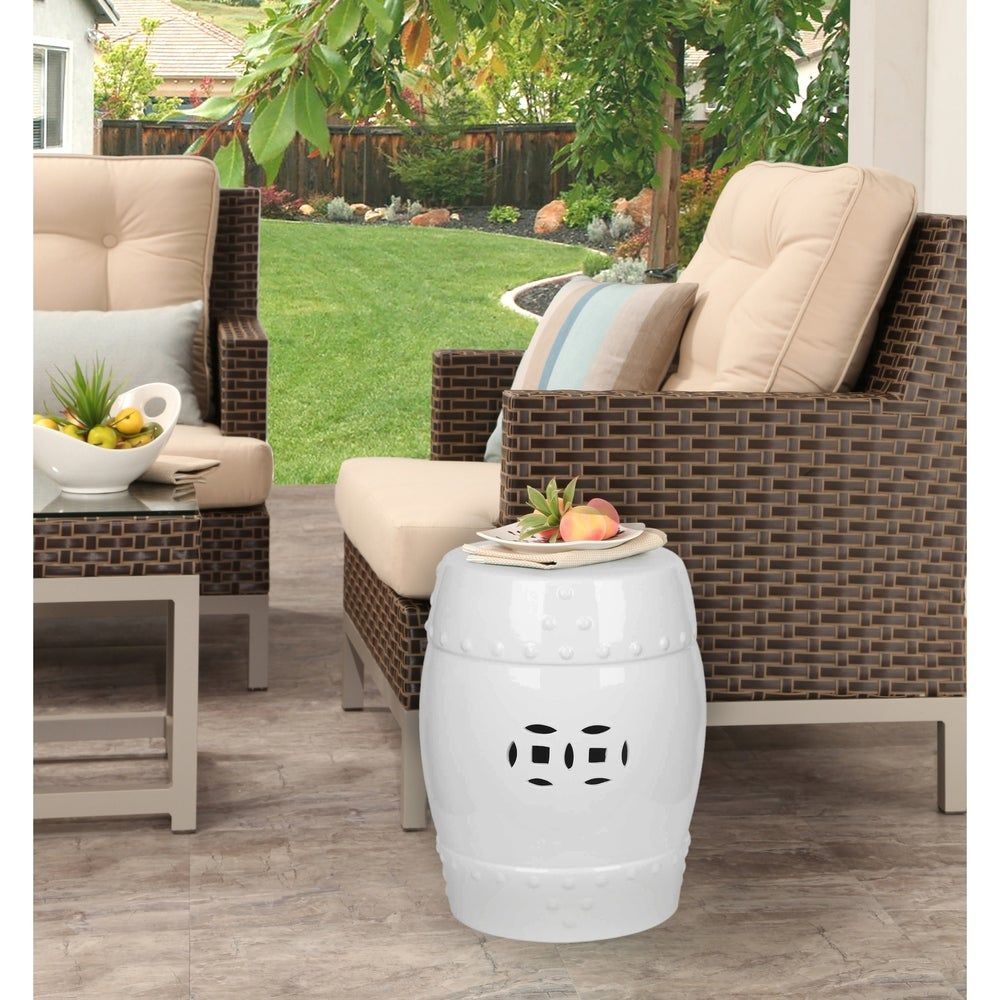 Abbyson Madras White Ceramic Garden Stool Regarding Bonville Ceramic Garden Stools (View 25 of 25)