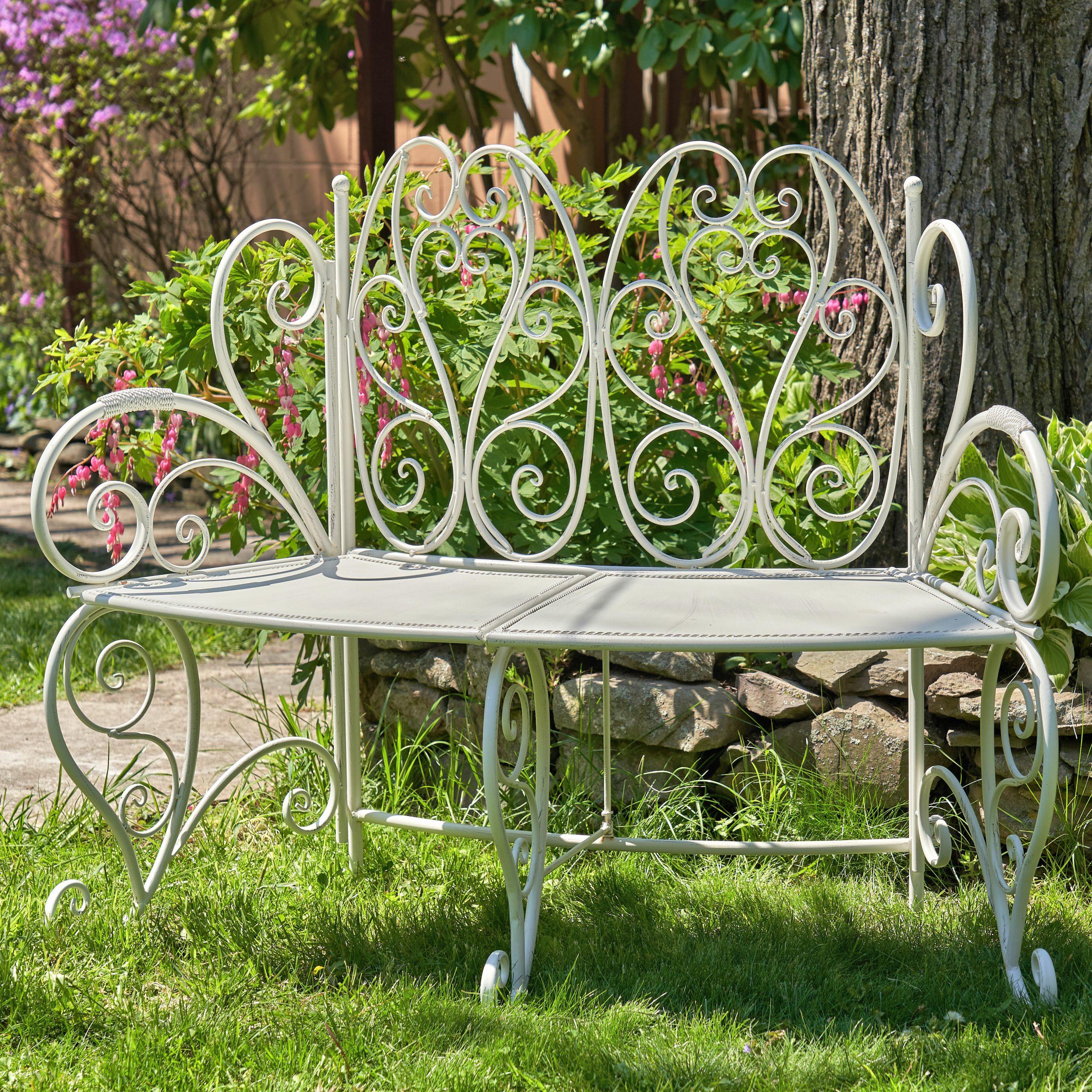 Abdullah Galina Folding Curved Iron Garden Bench For Norrie Metal Garden Benches (View 10 of 25)