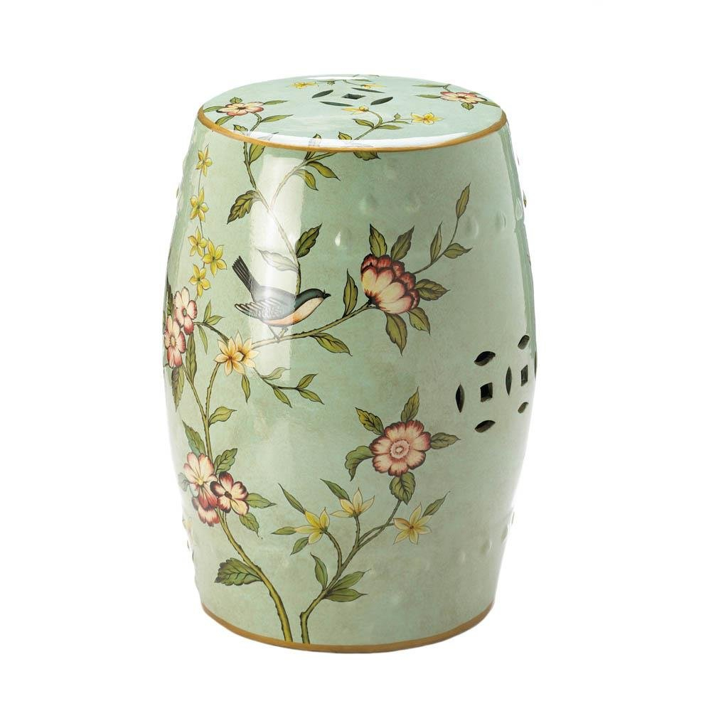 Accent Plus Garden Stools Ceramic Green, Patio Chinese Ceramic Stool Floral Decorative – Walmart Intended For Ceramic Garden Stools (View 6 of 25)