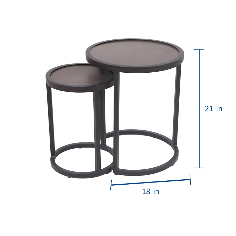 Allen + Roth Round Outdoor End Table 18 In W X 18 In L With Pauls Steel Garden Benches (View 25 of 25)