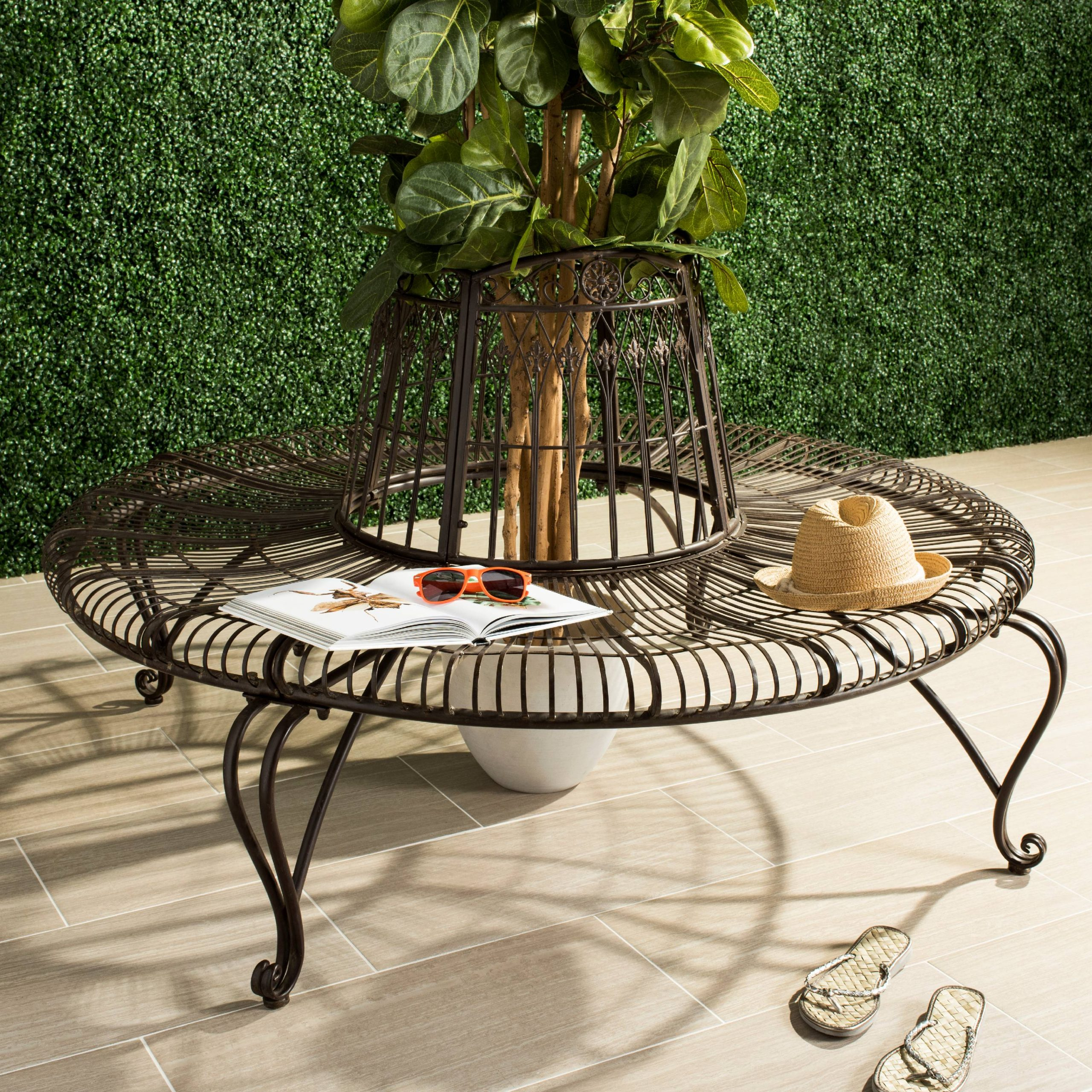 Ally Darling Indoor/Outdoor Wrought Iron Rustic Tree Bench – Walmart Within Tree Of Life Iron Garden Benches (View 23 of 25)