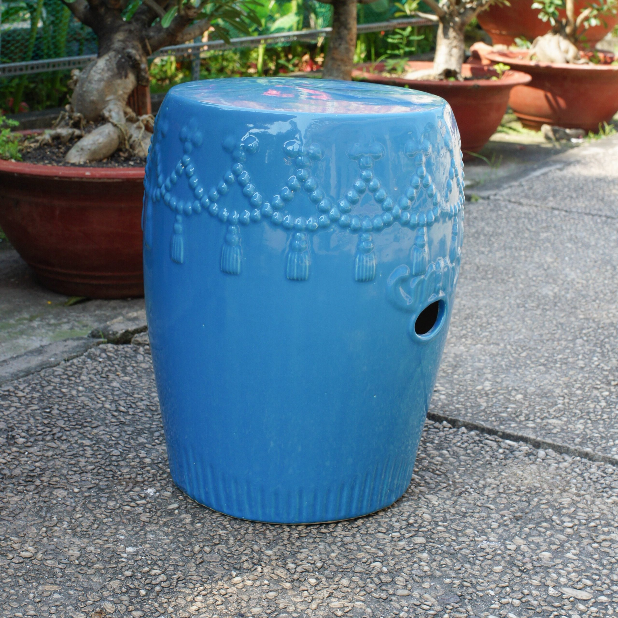 Alonsa Drum Ceramic Garden Stool Pertaining To Oakside Ceramic Garden Stools (View 8 of 25)
