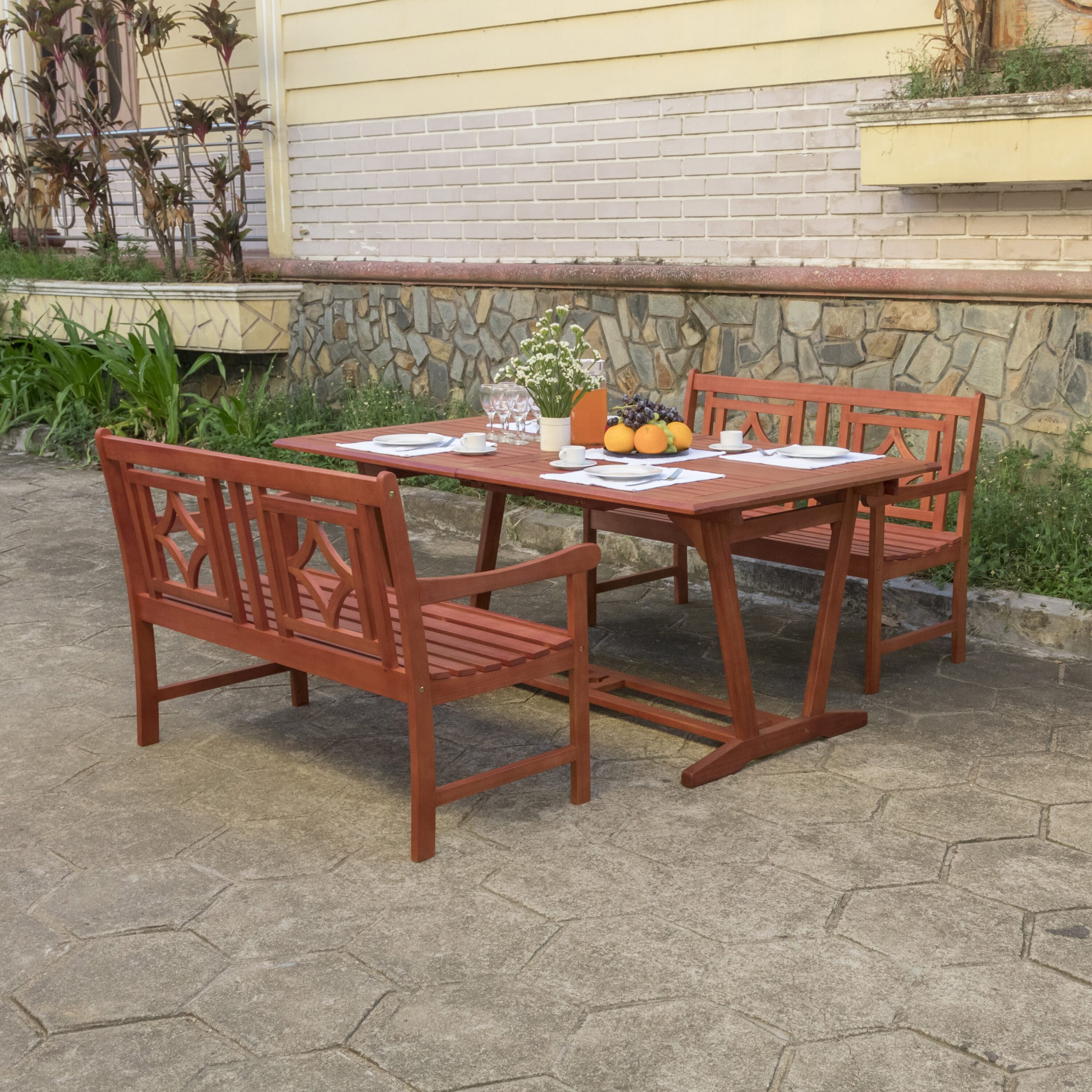 Amabel 3 Piece Patio Dining Set Pertaining To Amabel Patio Diamond Wooden Garden Benches (View 9 of 25)