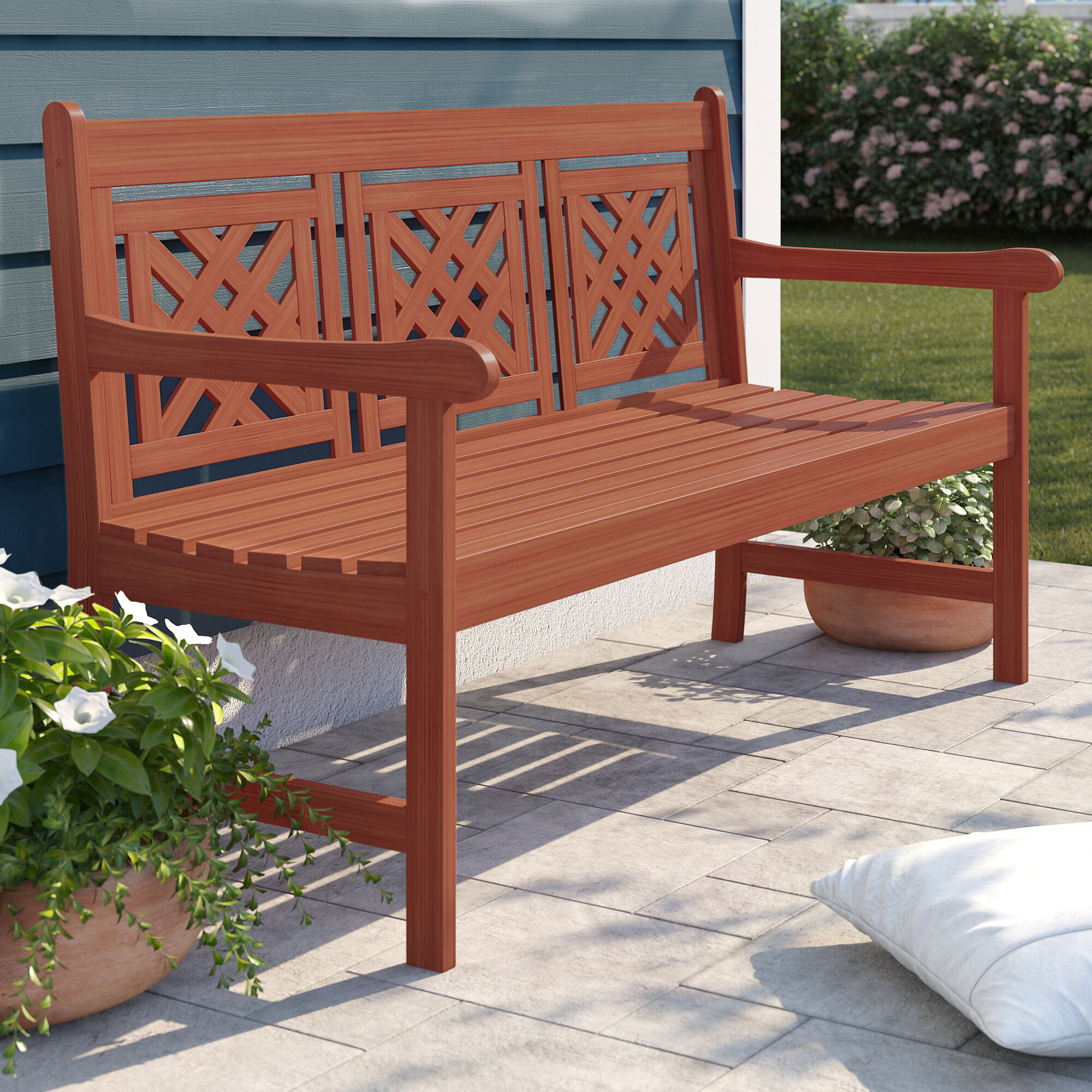 Amabel Patio Plaid Wooden Garden Bench For Amabel Patio Diamond Wooden Garden Benches (View 3 of 25)