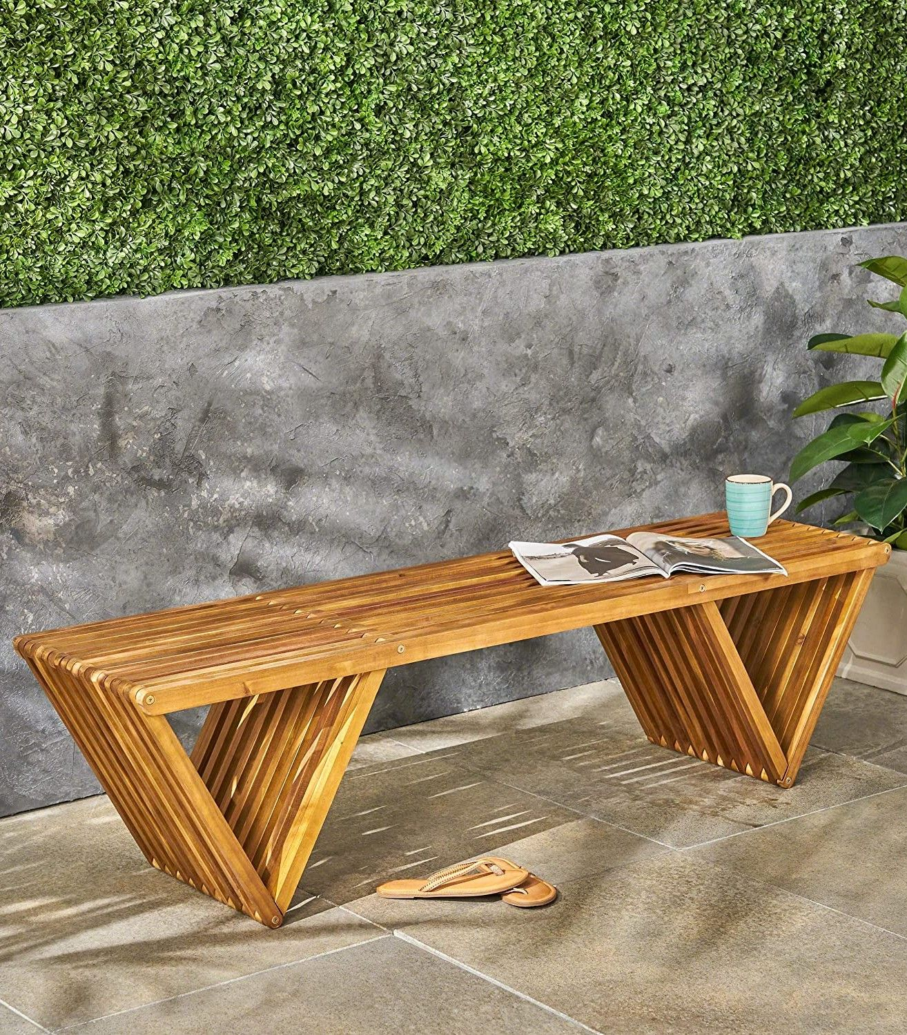 Amazon Outdoor Acacia Wood Bench Teak Finish | Best Outdoor Within Ossu Iron Picnic Benches (View 20 of 25)