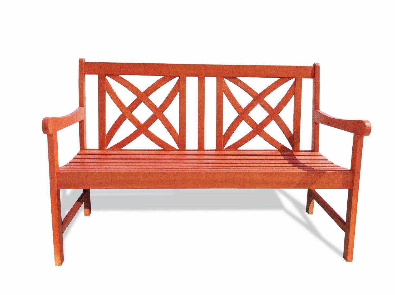 Amazon : Vifah V1493 Outdoor Wood Garden Bench, 4 Feet Throughout Avoca Wood Garden Benches (View 8 of 25)