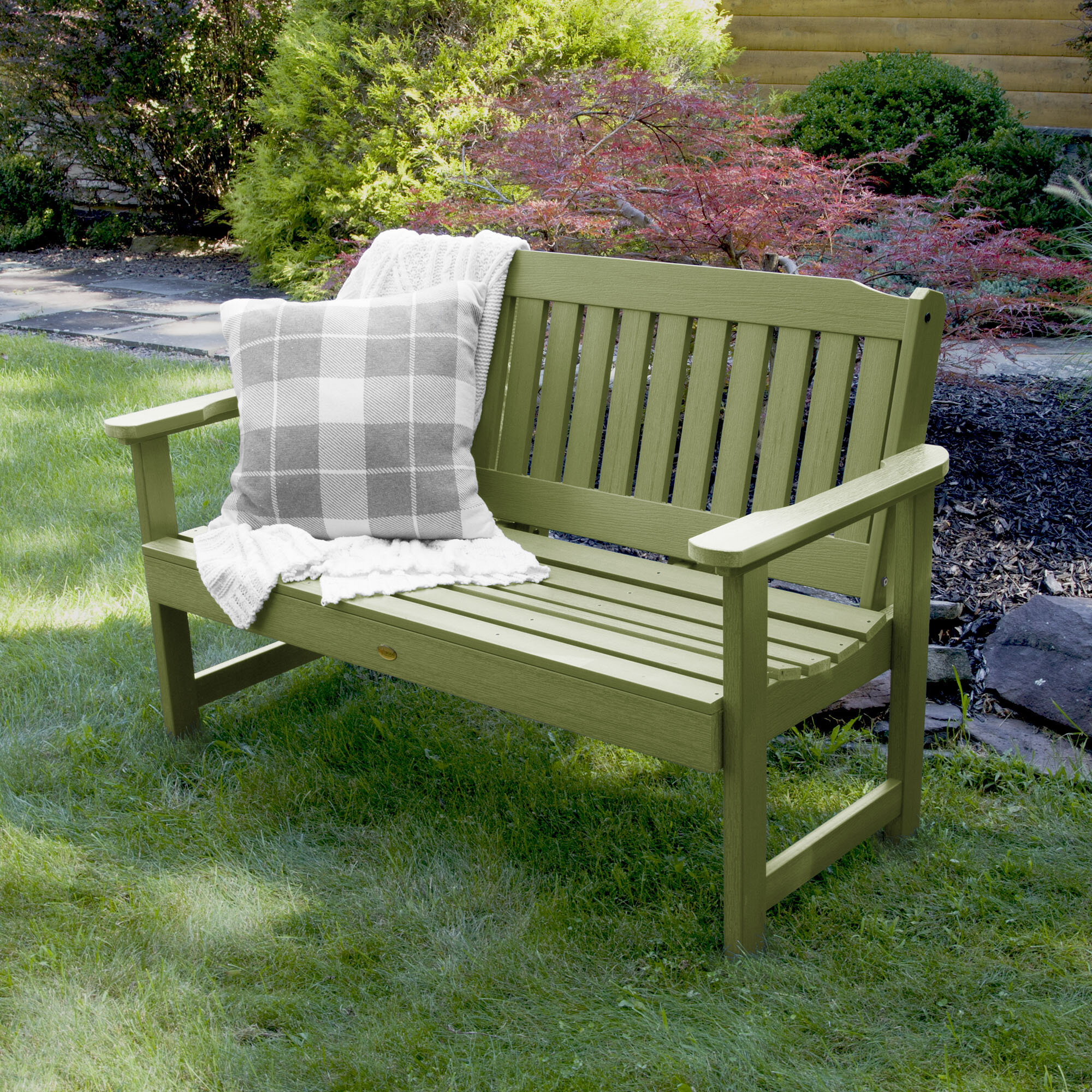 Amelia Plastic Garden Bench & Reviews | Birch Lane For Alfon Wood Garden Benches (View 15 of 25)