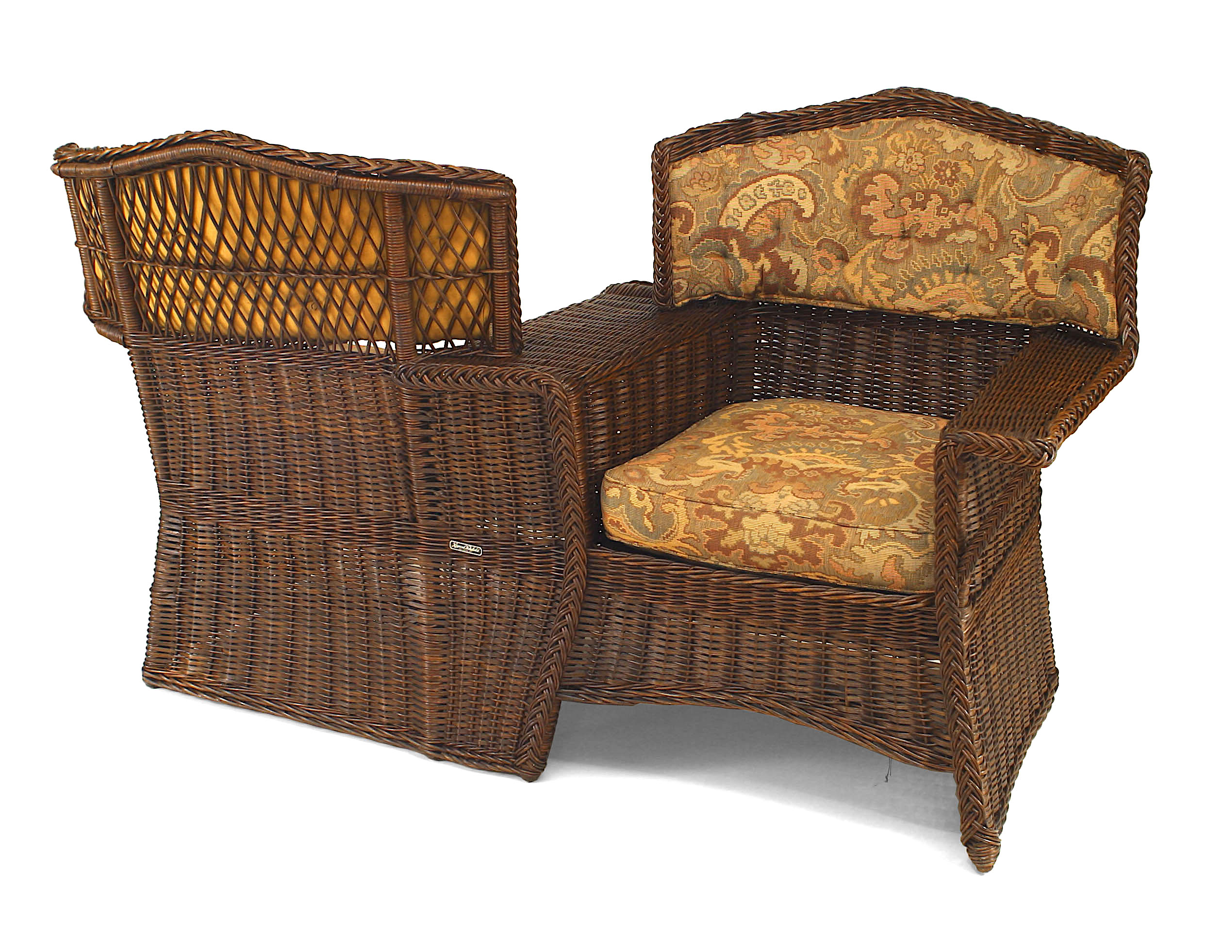 American Victorian Wicker Tete A Tete Pertaining To Wicker Tete A Tete Benches (View 13 of 25)