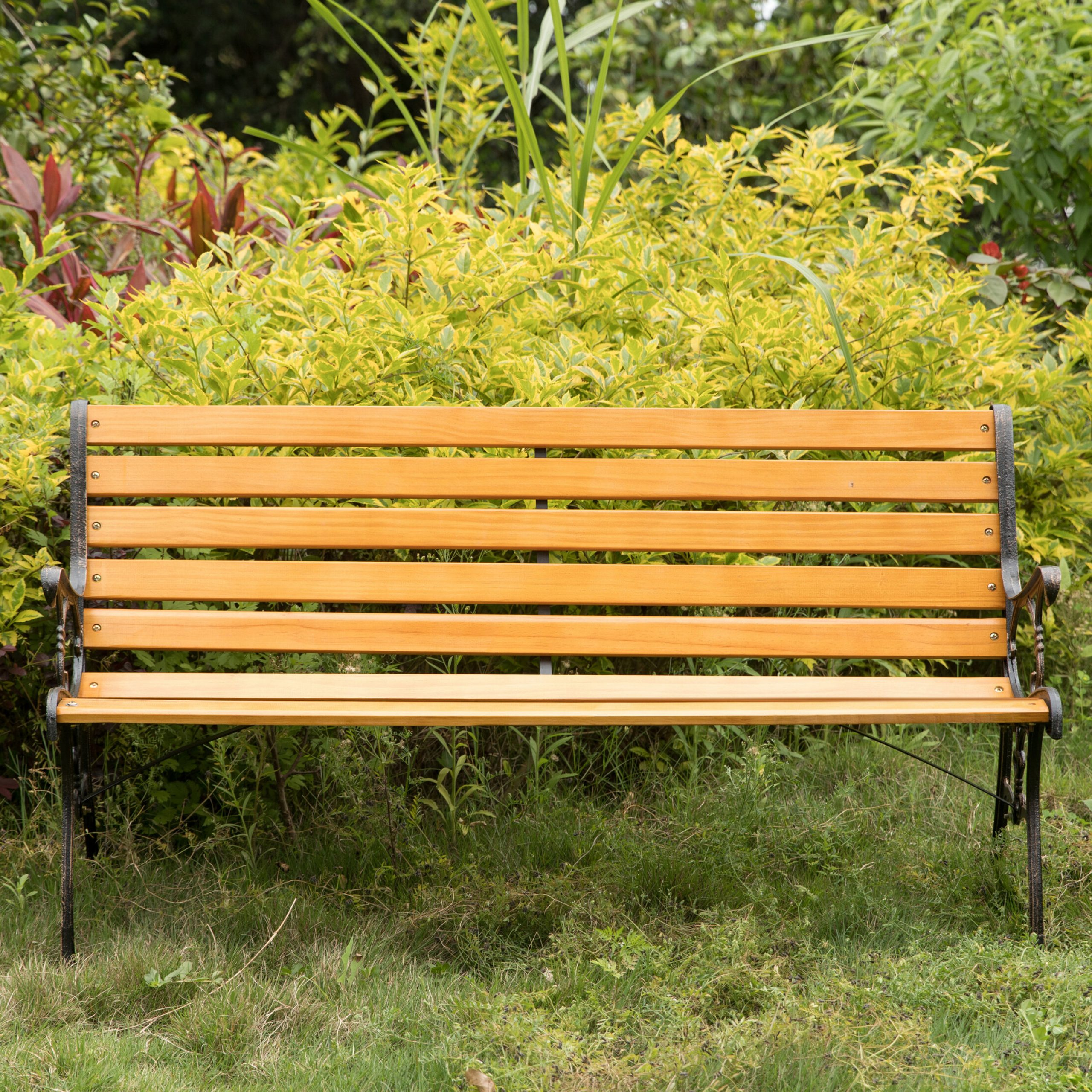 Amett Durable Steel And Solid Wood Park Bench Regarding Ishan Steel Park Benches (View 11 of 25)