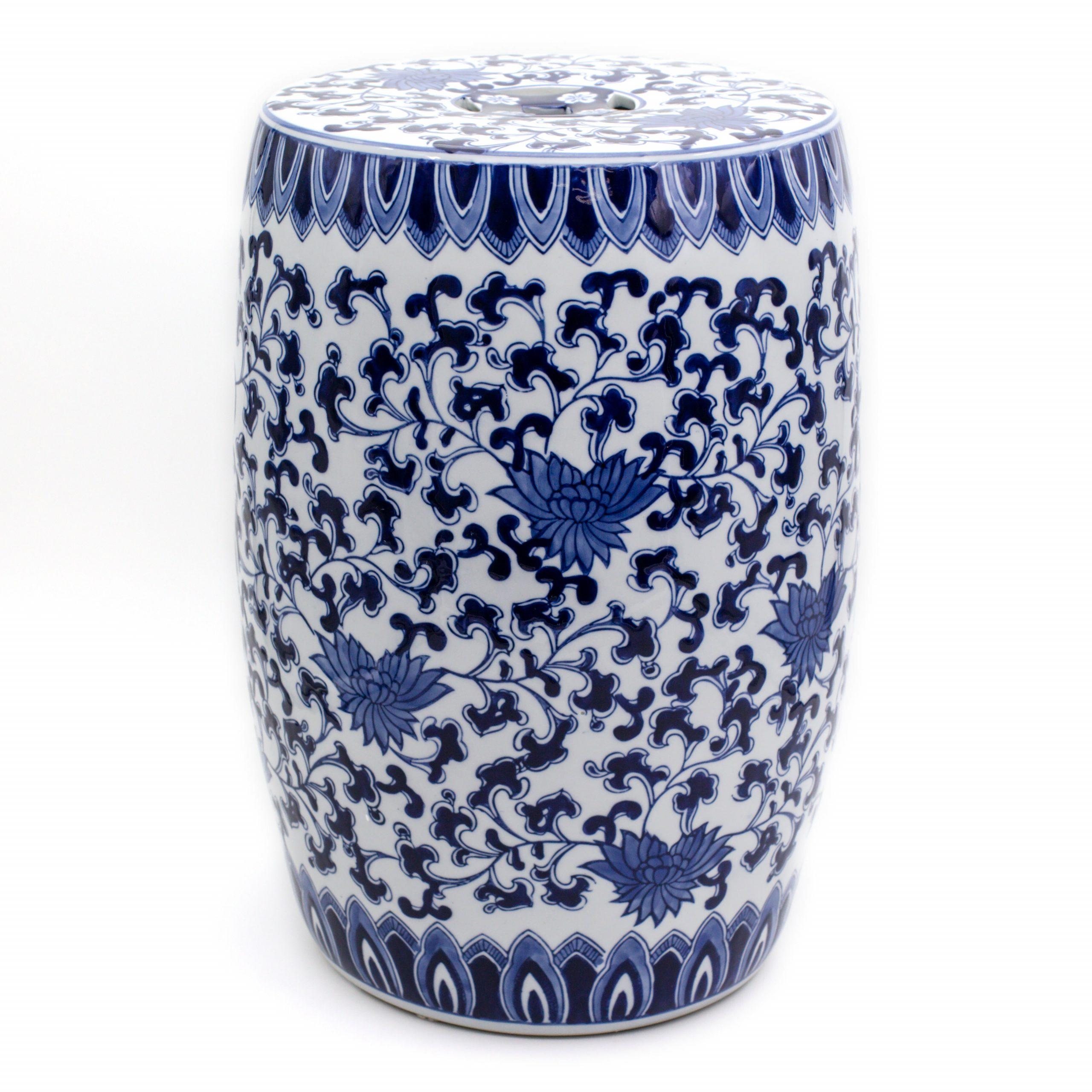 Angela Blue Lotus Ceramic Garden Stool For Holbæk Garden Stools (View 6 of 25)