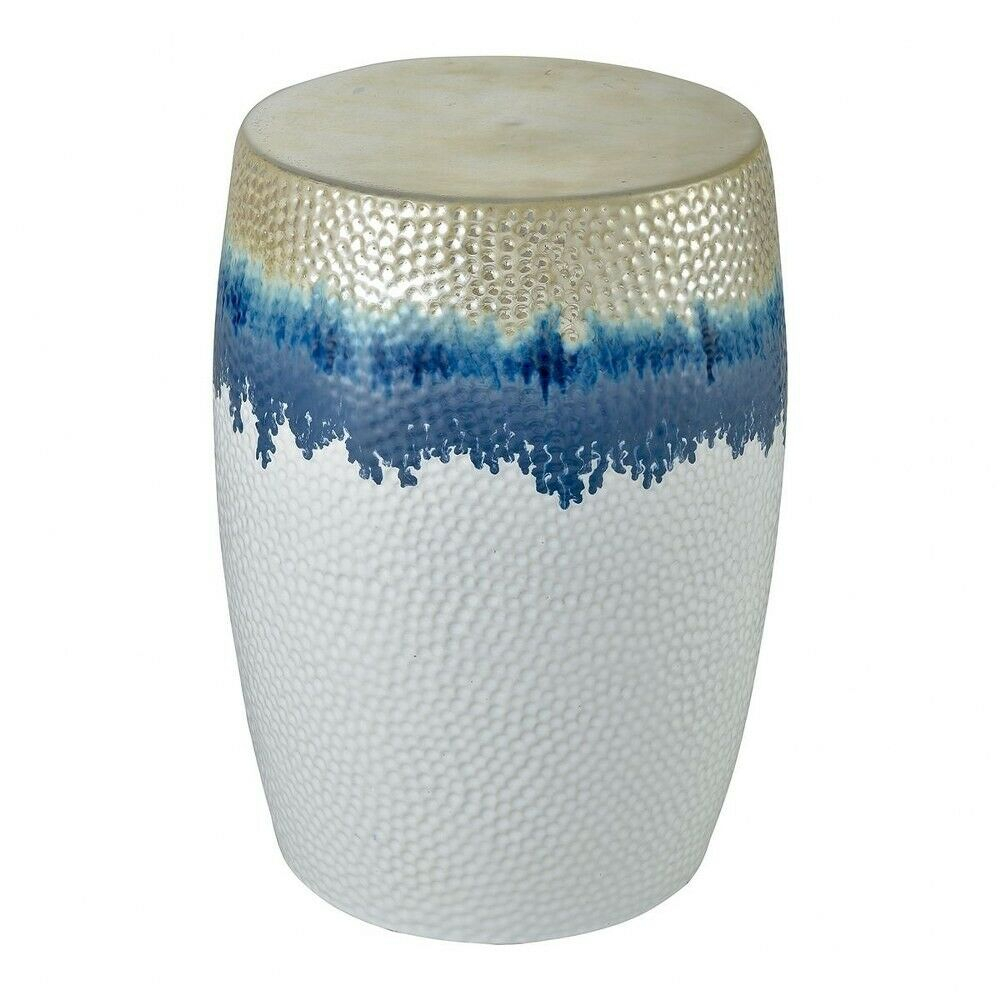 Beach Inspired Hammered Metal Drum Stool In White, Blue, And Gold Made Of Throughout Janke Floral Garden Stools (View 21 of 25)
