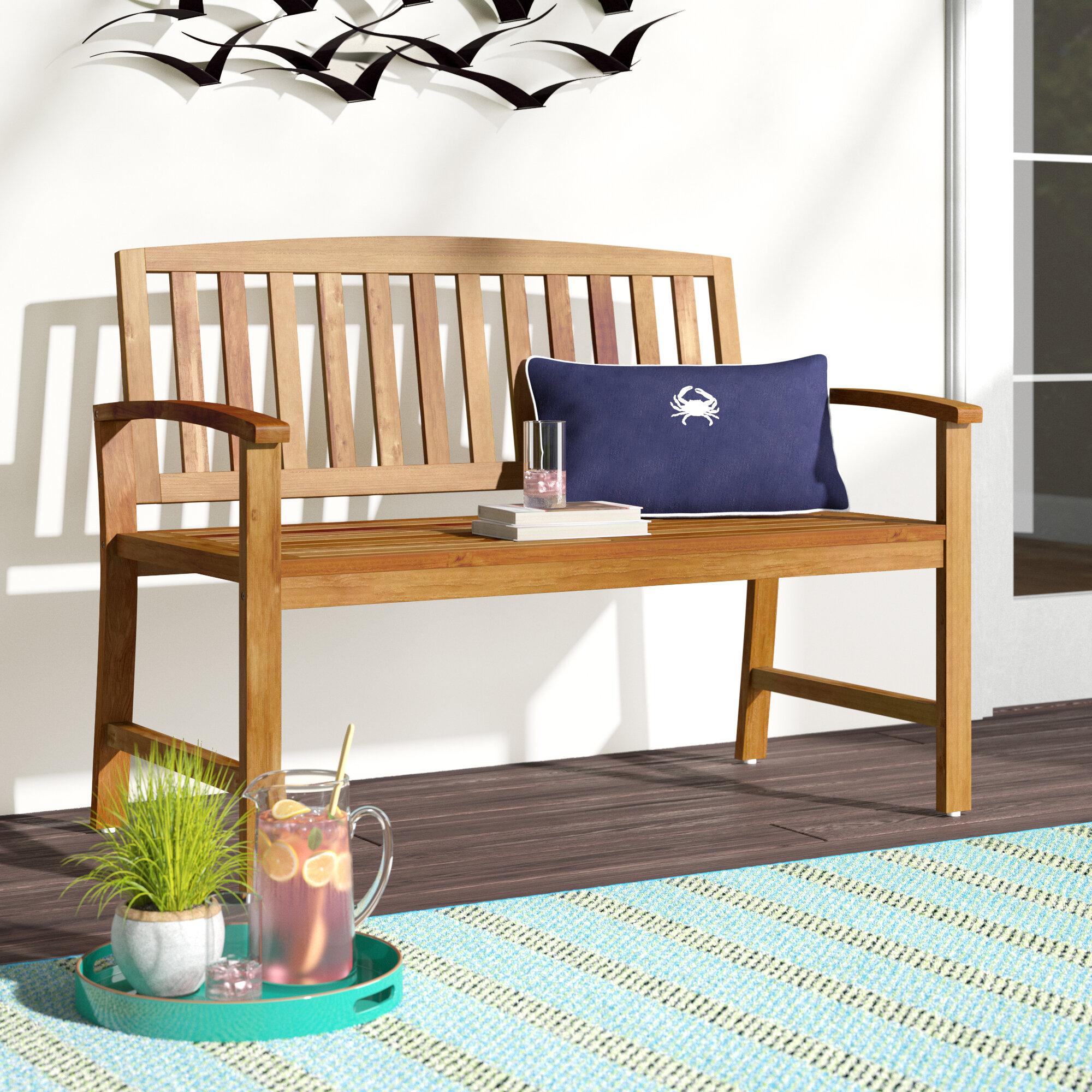 Beachcrest Home Leora Wooden Garden Bench & Reviews In Leora Wooden Garden Benches (View 2 of 25)
