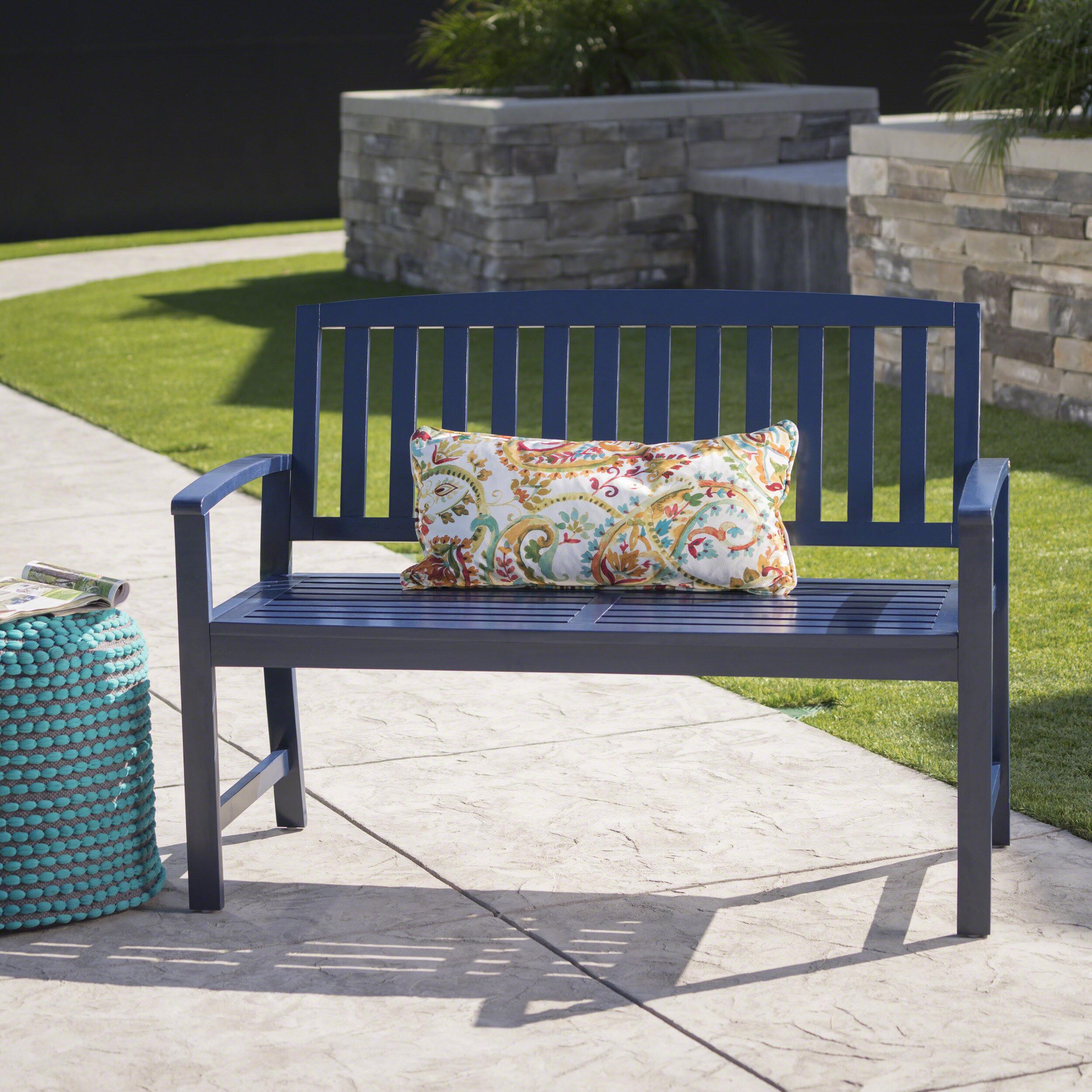 Beachcrest Home Leora Wooden Garden Bench & Reviews | Wayfair For Elsner Acacia Garden Benches (View 25 of 25)