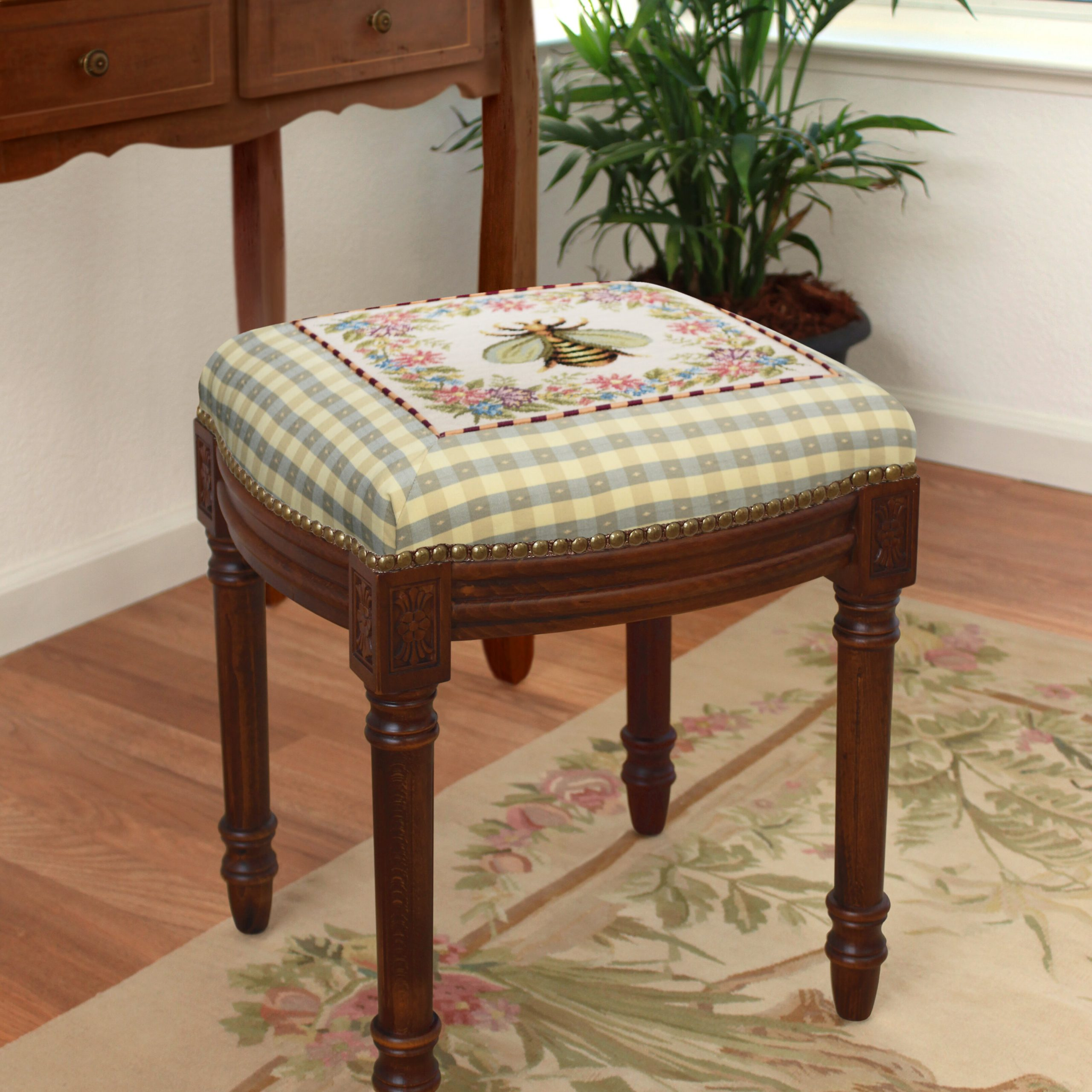 Bee Solid Wood Accent Stool With Glendale Heights Birds And Butterflies Garden Stools (View 13 of 25)