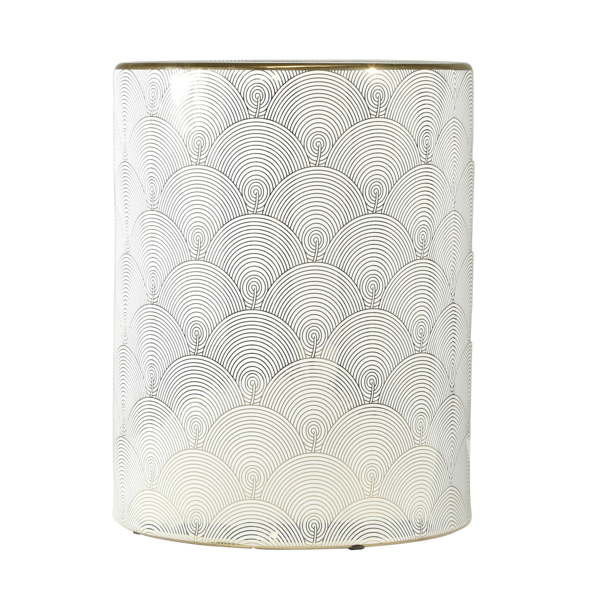 Belvedere Ceramic Fan Design Garden Stool Inside Irwin Blossom Garden Stools (View 12 of 25)