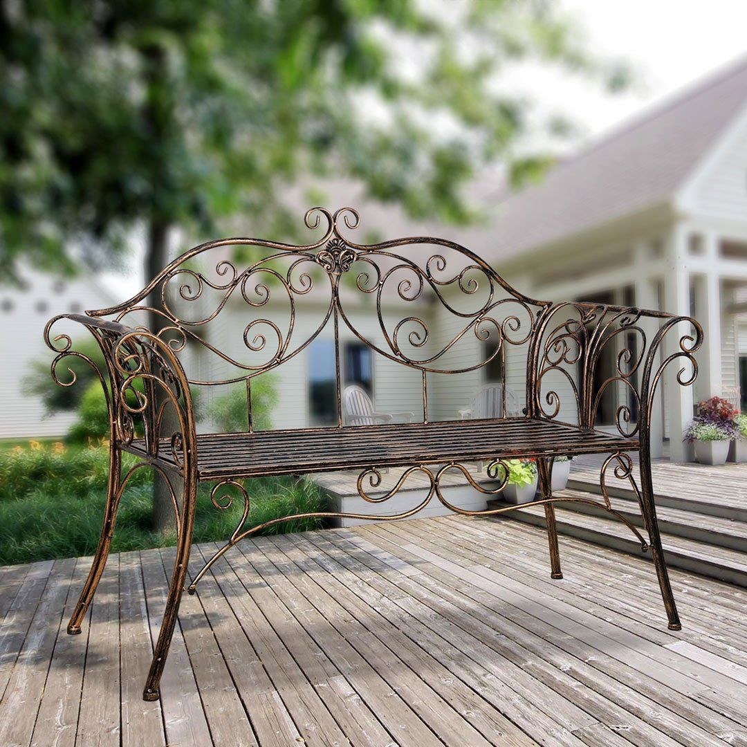 Bench Metal Antique Garden Bench With Decorative Cast Iron Intended For Blooming Iron Garden Benches (View 15 of 25)