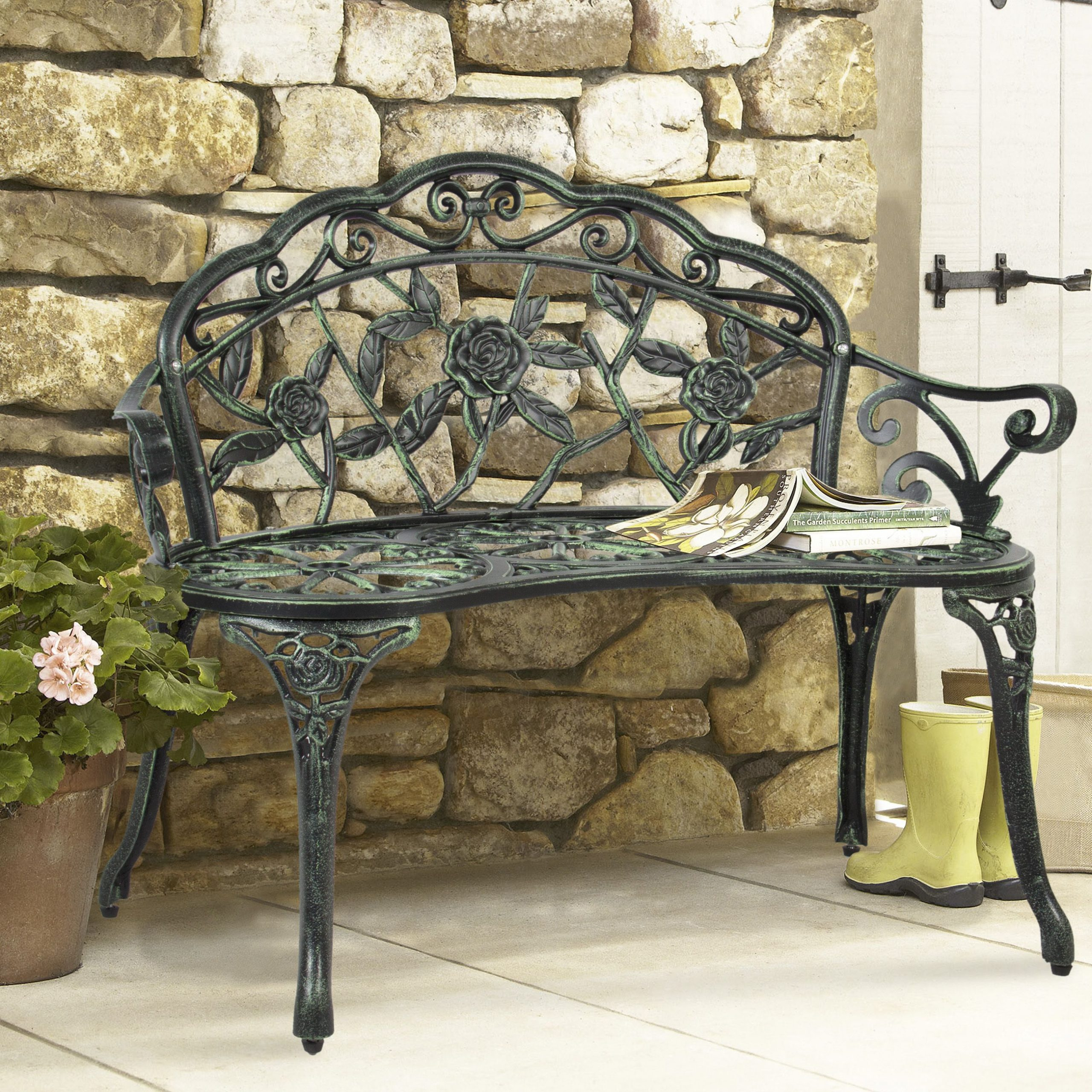 Best Choice Products 39In Steel Garden Bench For Outdoor Inside Montezuma Cast Aluminum Garden Benches (View 4 of 25)