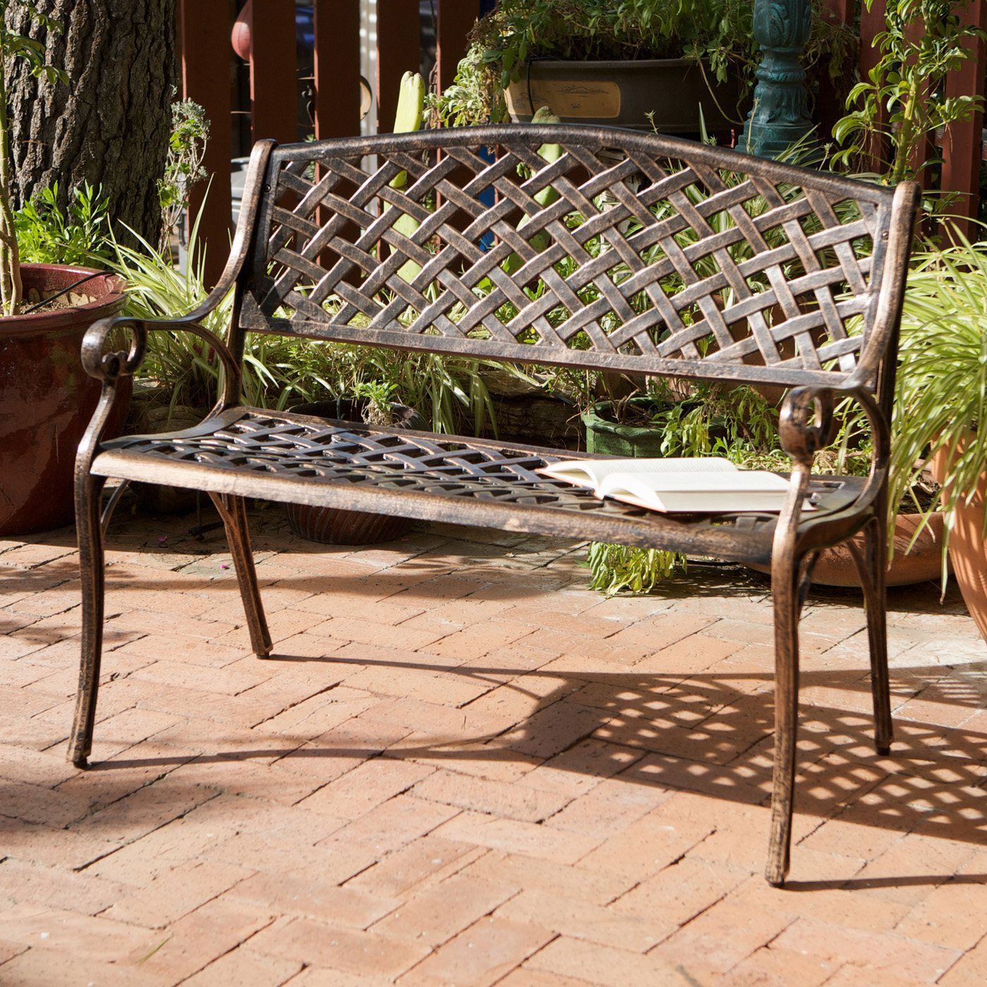Best Selling Home Décor Cozumel Antique Copper Cast Aluminum Pertaining To Michelle Metal Garden Benches (View 12 of 25)