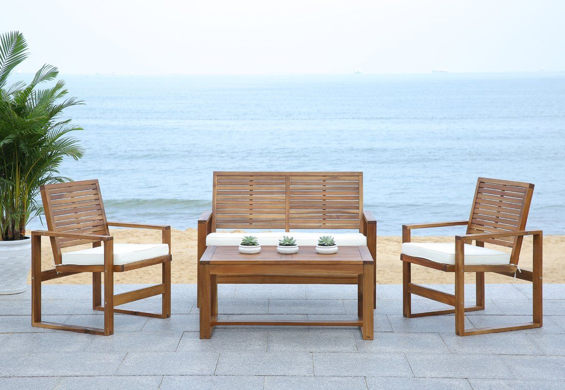 Black Diamond 4 Piece Lounge Seating Group With Cushions Intended For Amabel Patio Diamond Wooden Garden Benches (View 17 of 25)