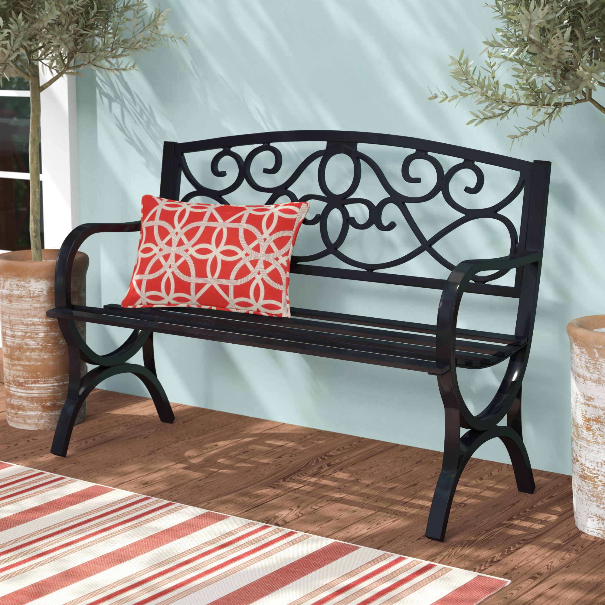 Black Garden Outdoor Benches You'Ll Love In 2020 | Wayfair Throughout Strasburg Blossoming Decorative Iron Garden Benches (View 5 of 25)