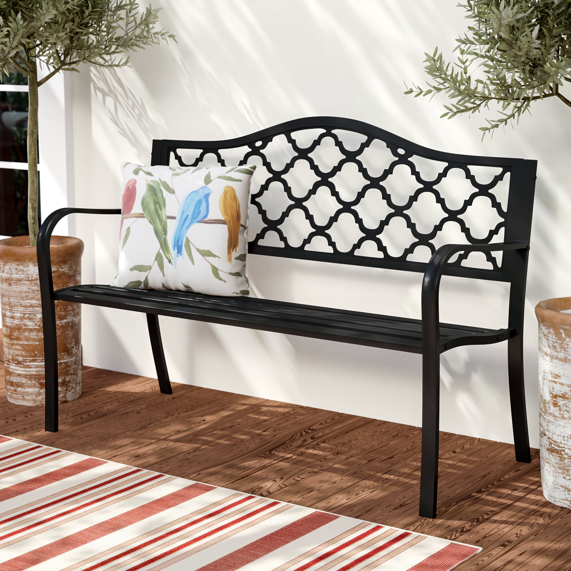 Black Outdoor Benches You'Ll Love In 2020 | Wayfair Inside Pauls Steel Garden Benches (View 21 of 25)