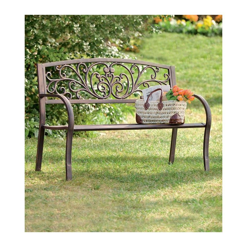 Blooming Garden Cast Aluminum Bench – Plow & Hearth | Metal Within Blooming Iron Garden Benches (View 4 of 25)