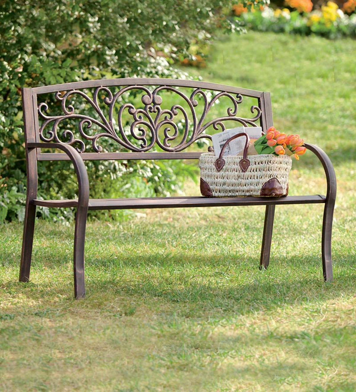 Blooming Garden Metal Bench Regarding Blooming Iron Garden Benches (View 1 of 25)
