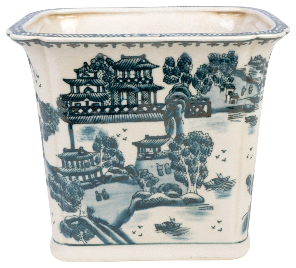 Blue And White Blue Willow Square Porcelain Rectangular Pot Within Williar Cherry Blossom Ceramic Garden Stools (View 21 of 25)