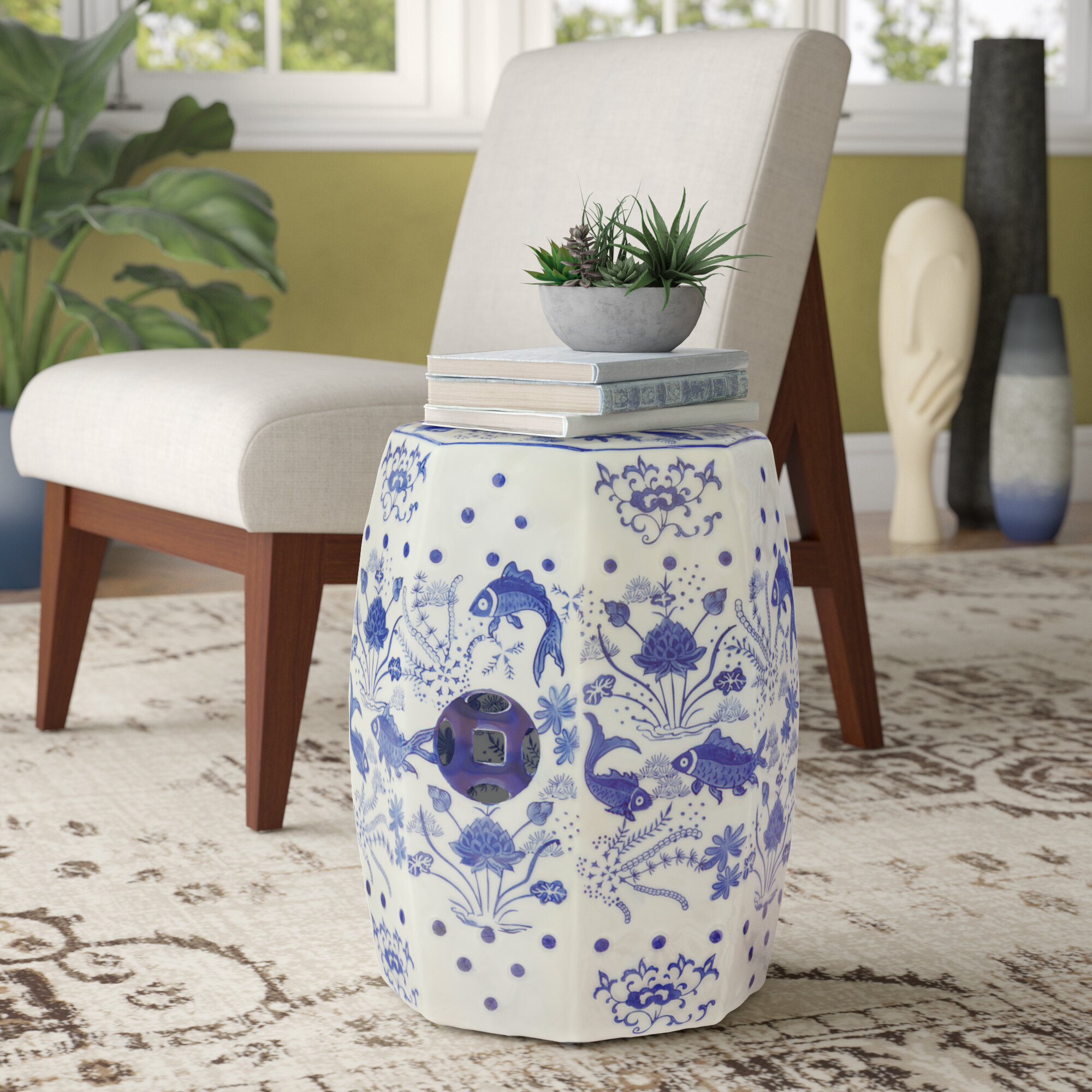 Blue Garden Accent Stools You'Ll Love In 2020 | Wayfair For Williar Cherry Blossom Ceramic Garden Stools (View 9 of 25)