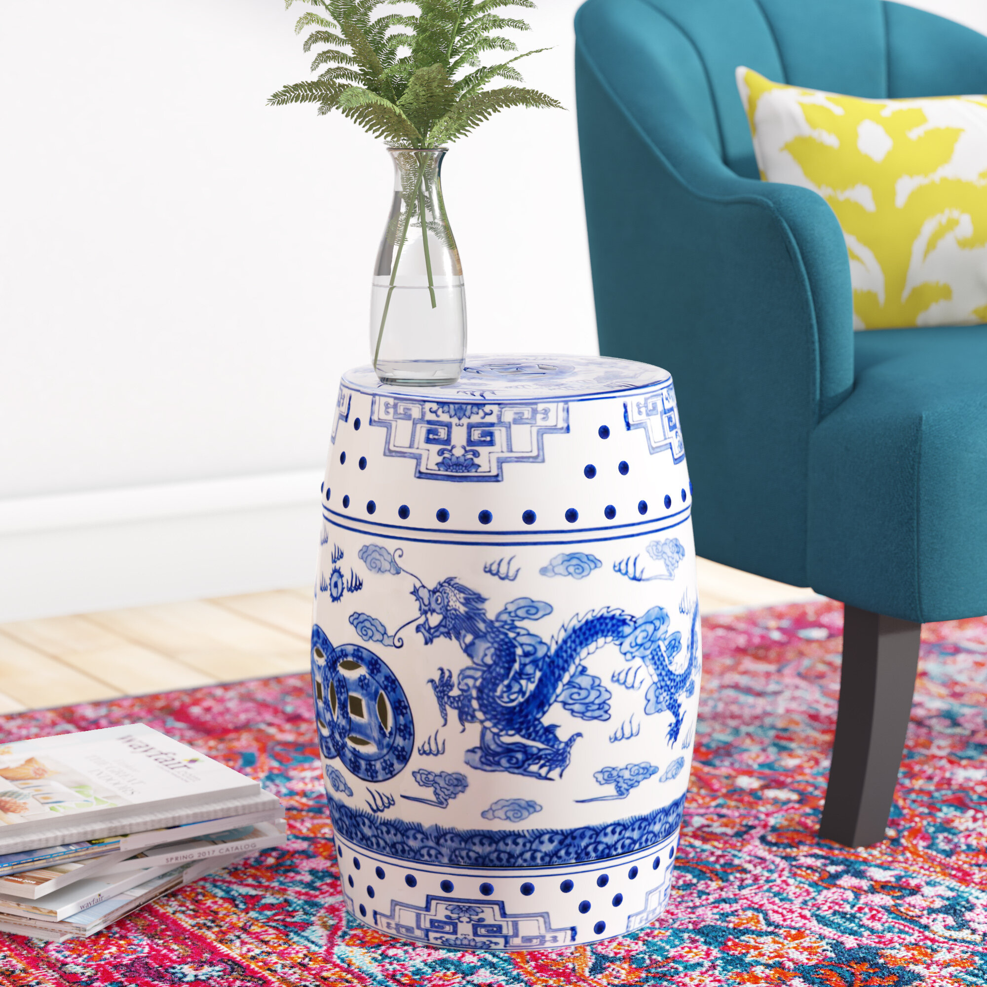 Blue Garden Accent Stools You'Ll Love In 2020 | Wayfair Inside Williar Cherry Blossom Ceramic Garden Stools (View 8 of 25)