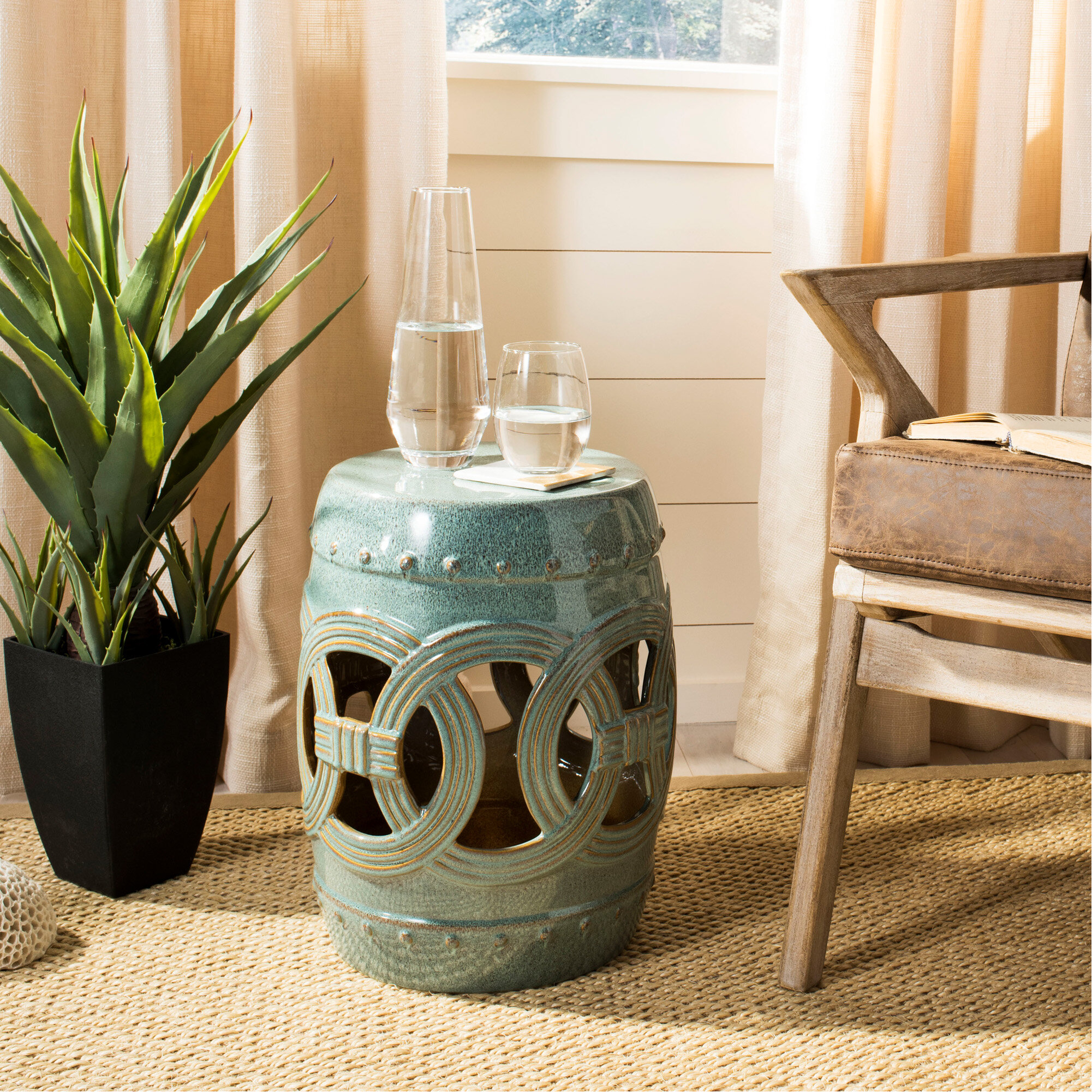 Blue & Green Garden Stools You'Ll Love In 2020 | Wayfair Throughout Glendale Heights Birds And Butterflies Garden Stools (View 7 of 25)