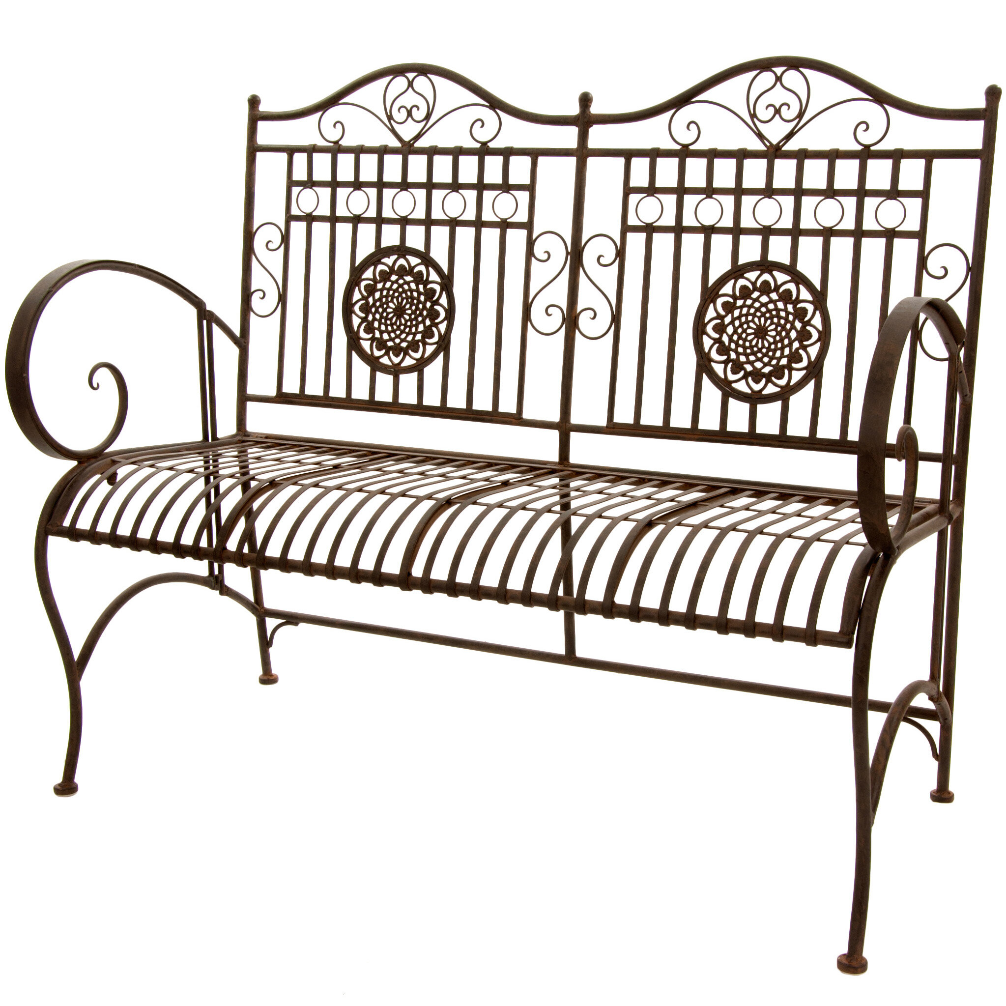 Bodner Rustic Metal Garden Bench With Regard To Strasburg Blossoming Decorative Iron Garden Benches (View 8 of 25)