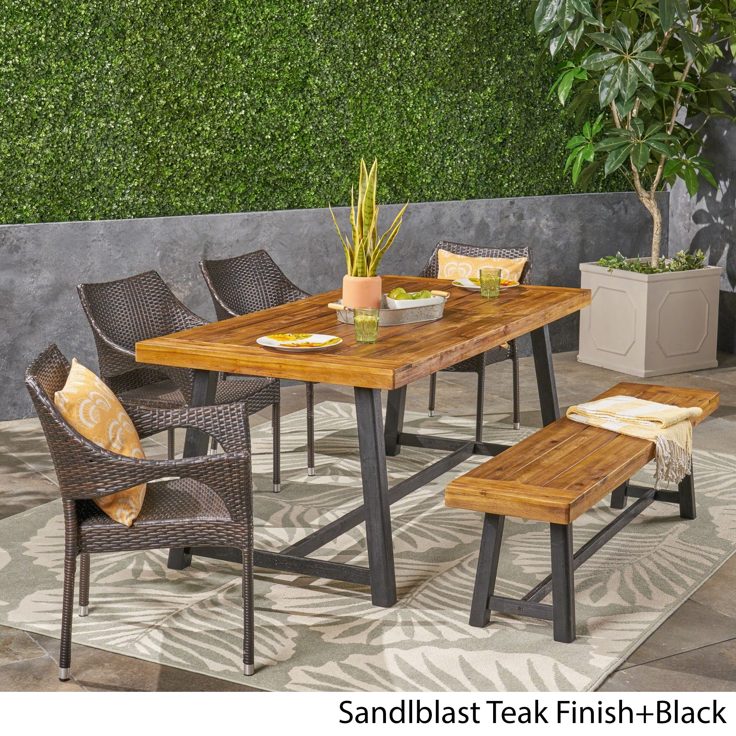 Brecken Outdoor 6 Piece Wood And Wicker Dining Set With Stacking Chairs And Benchchristopher Knight Home Intended For Brecken Teak Garden Benches (View 4 of 25)